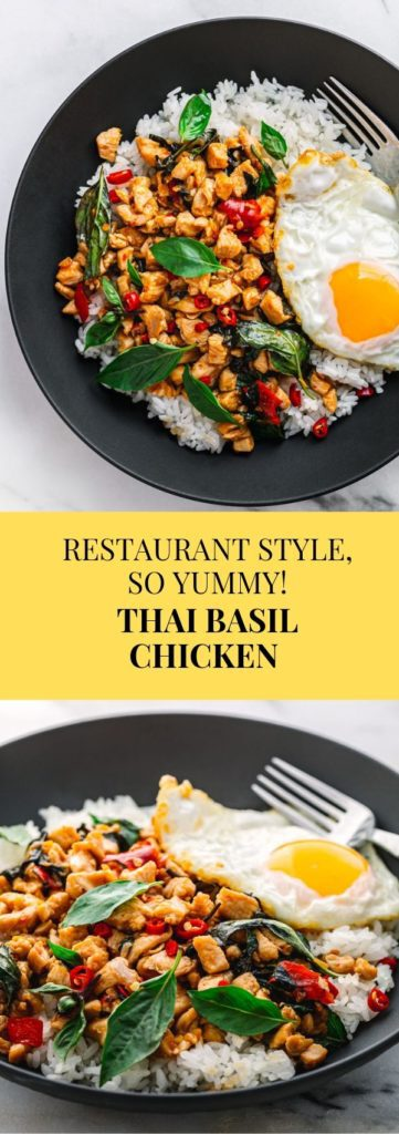 A restaurant-style Thai Basil Chicken, aka Pad Krapow Gai or Gai Pad Krapow. This stir-fry recipe is a classic Thai Dish, insanely delicious, very quick to make and inexpensive.