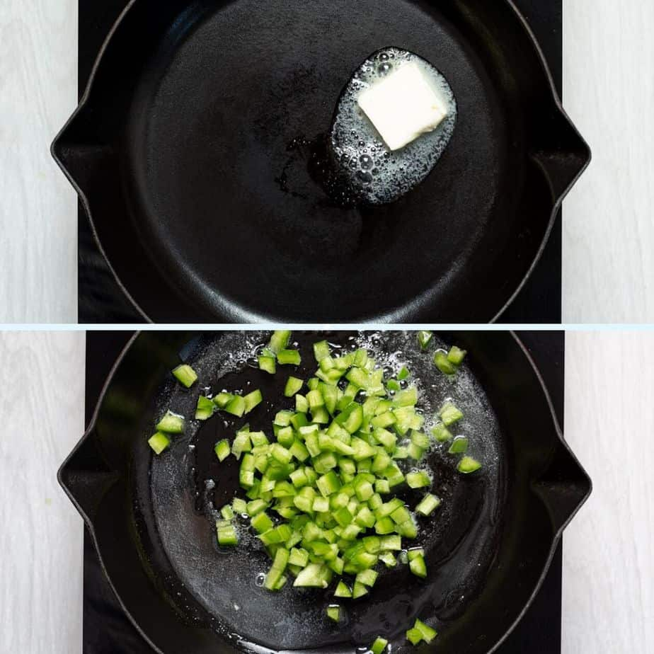 Cook the Green Bell Pepper with Butter for Casserole