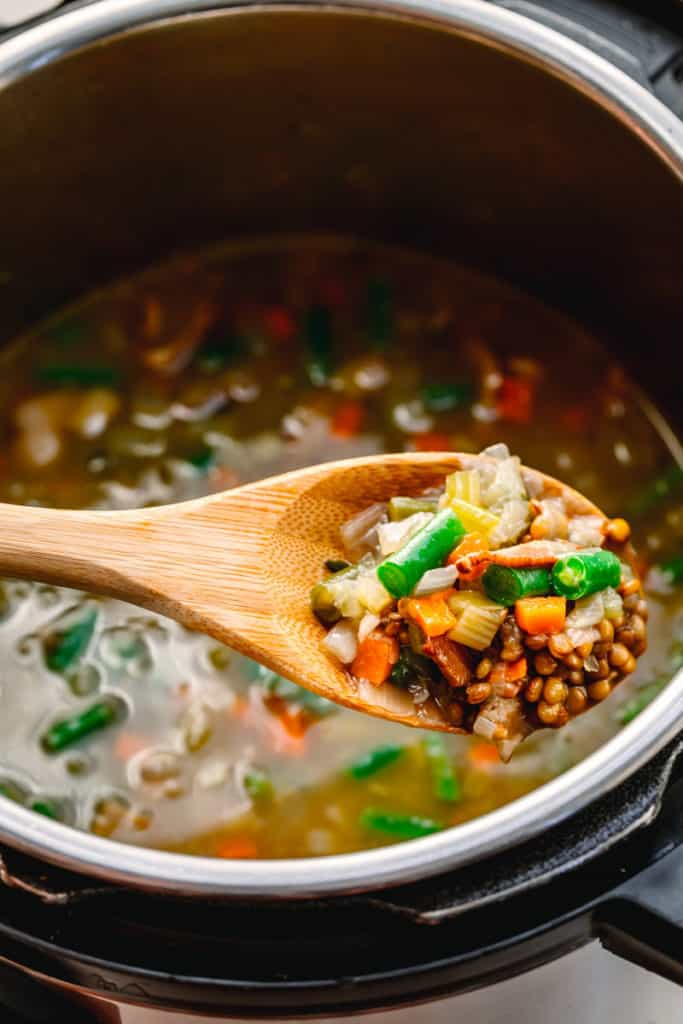 Instant Pot Bacon Lentil Soup