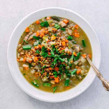Instant Pot Bacon Lentil Soup