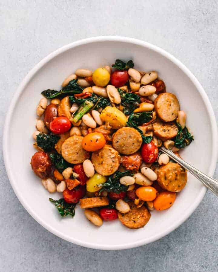 sausage skillet with white beans and kale