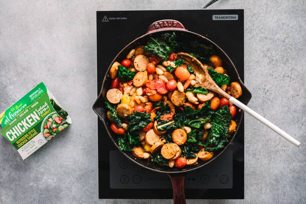Skillet Sausage with White Beans and Kale