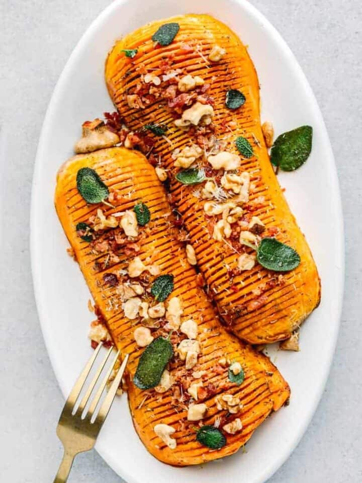 Hasselback Butternut Squash with Brown Butter Sage