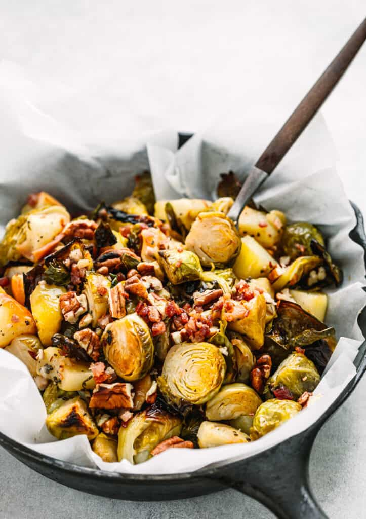 Roasted Brussels Sprouts with Pancetta and Apple