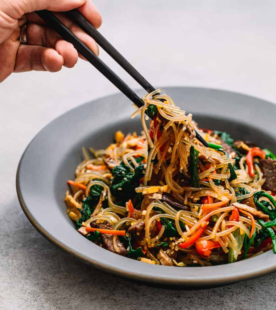 Japchae (Korean Stir-Fried Sweet Potato Glass Noodles)