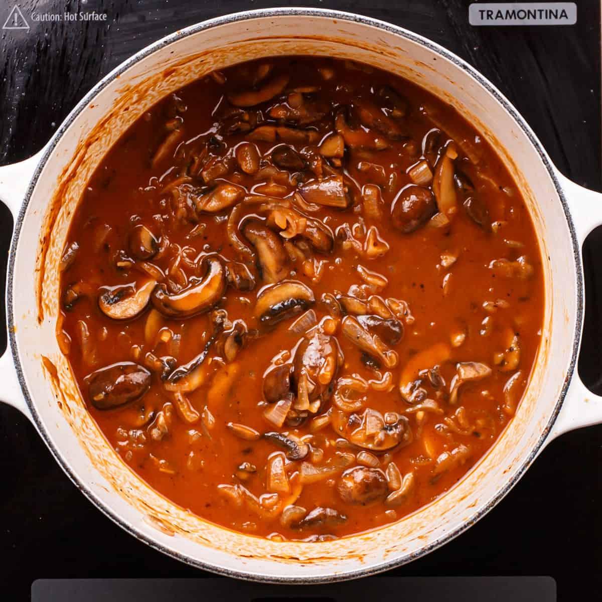 mushroom and chicken broth