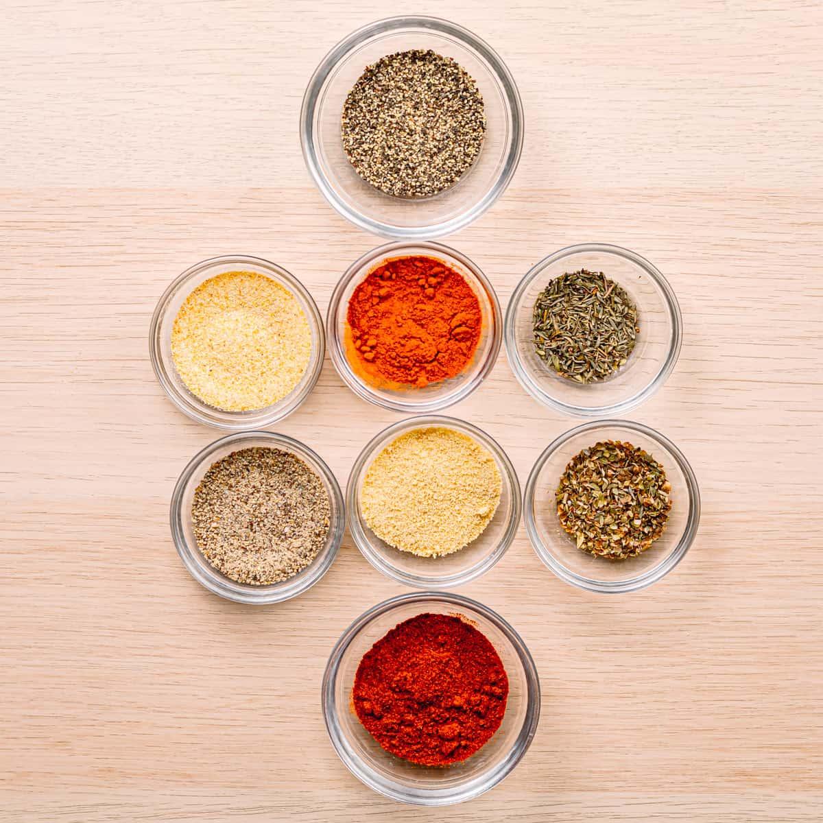 Ingredients for Cajun Spice