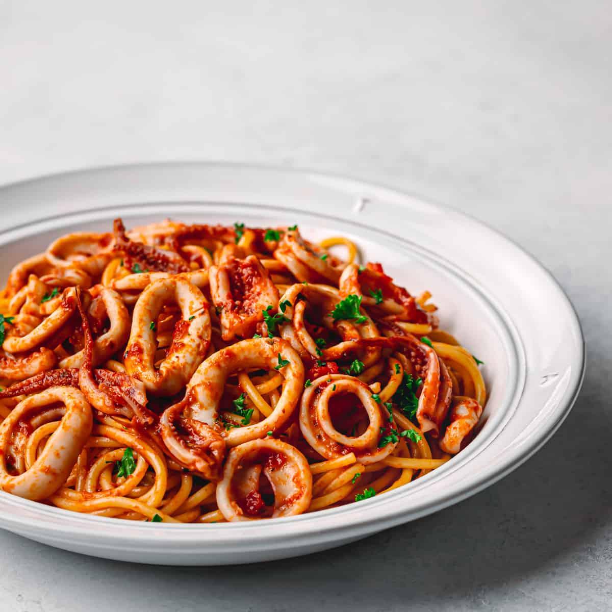 squid pasta with marinara sauce