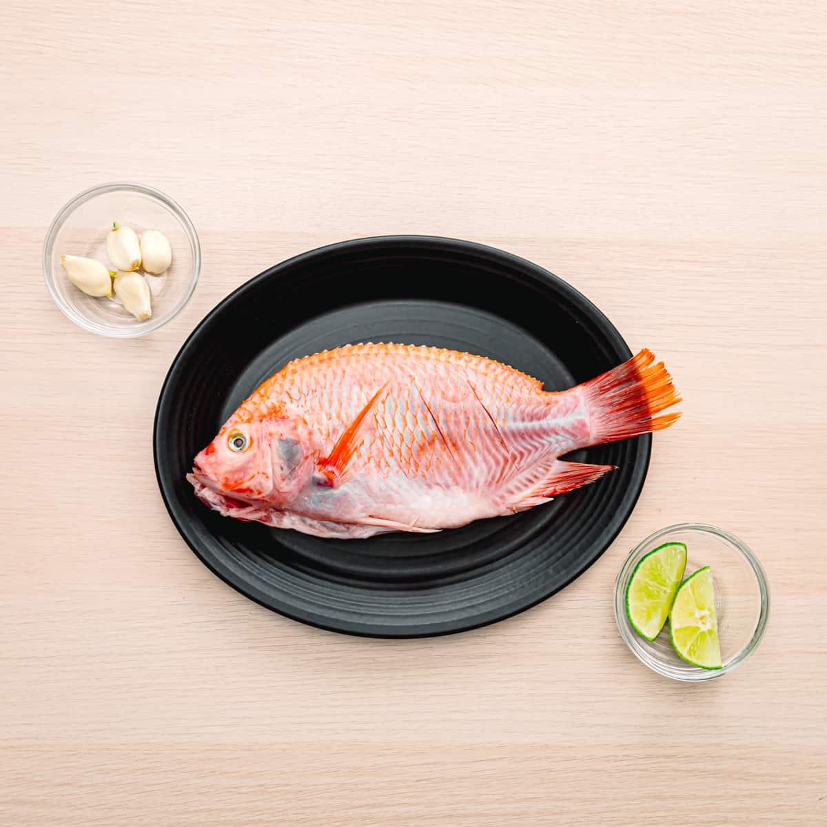 fresh fish, lime, and garlic.