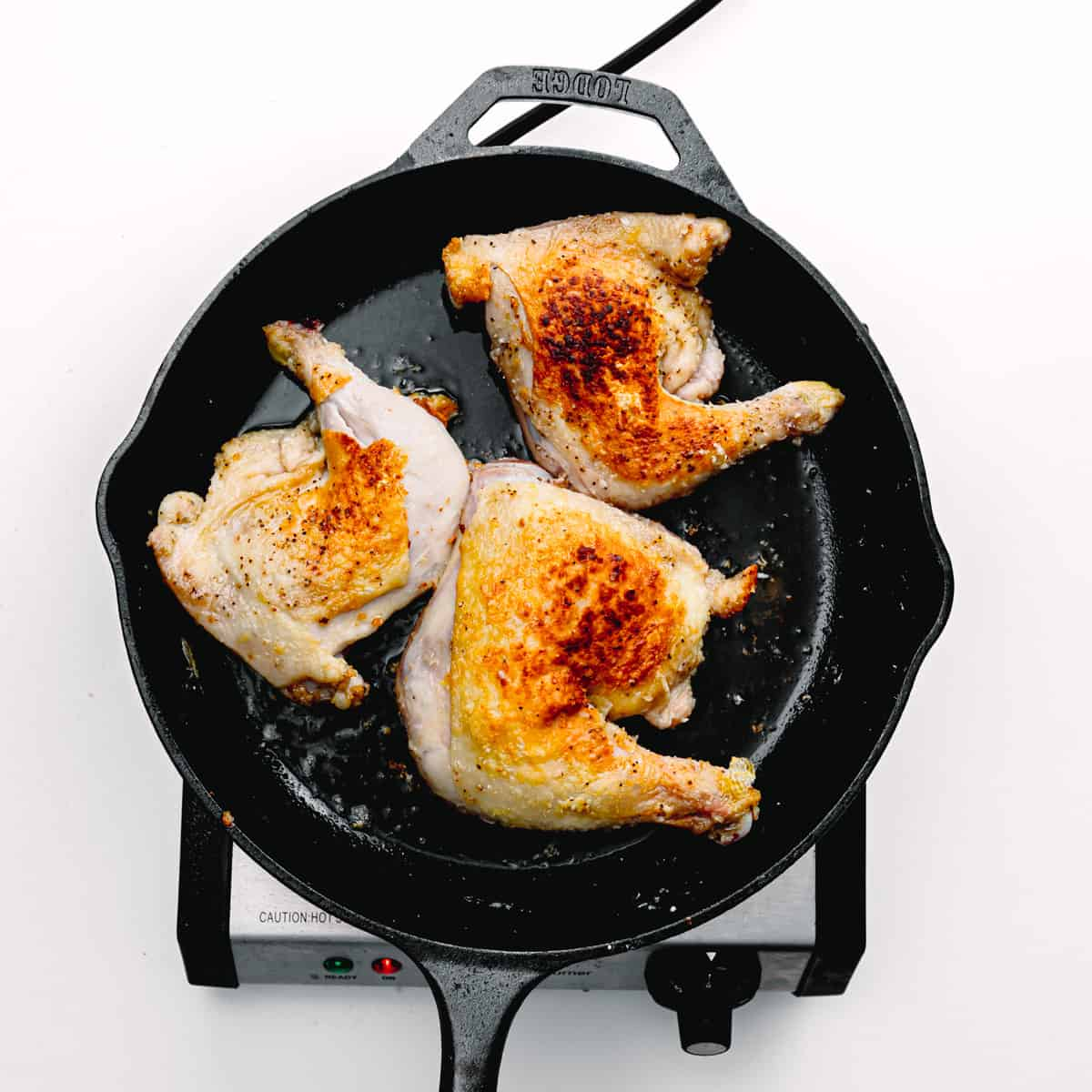 Browned chicken.