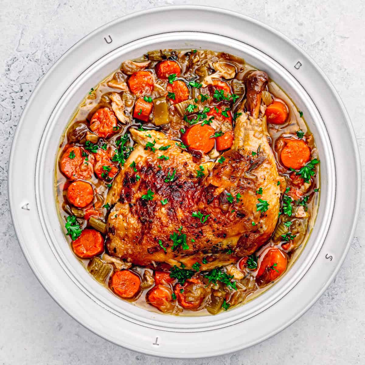 Crock Pot Braised Chicken Legs.