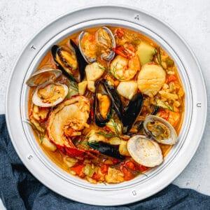 Bouillabaisse, the traditional Provençal fish stew.