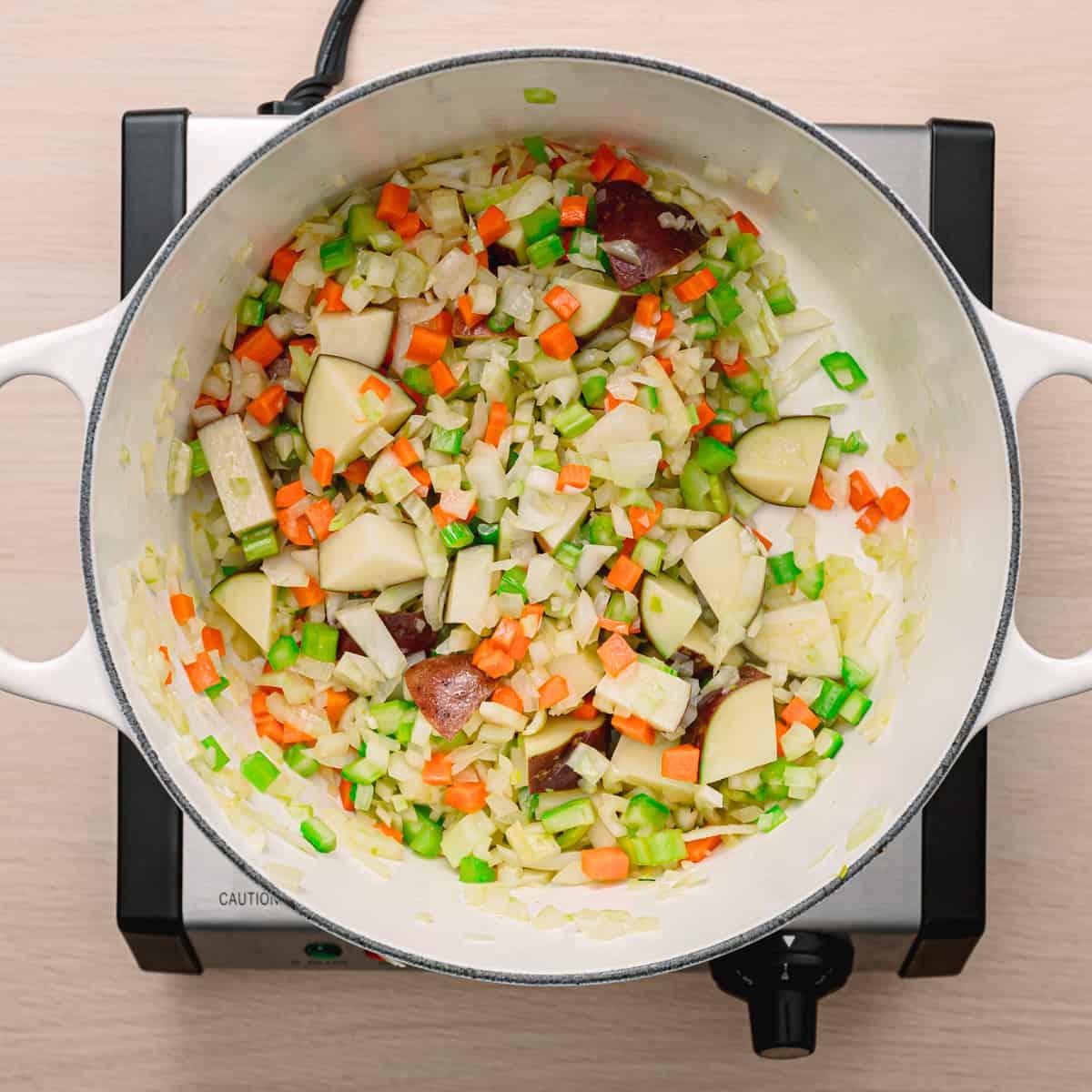 onion, carrot, and potato.