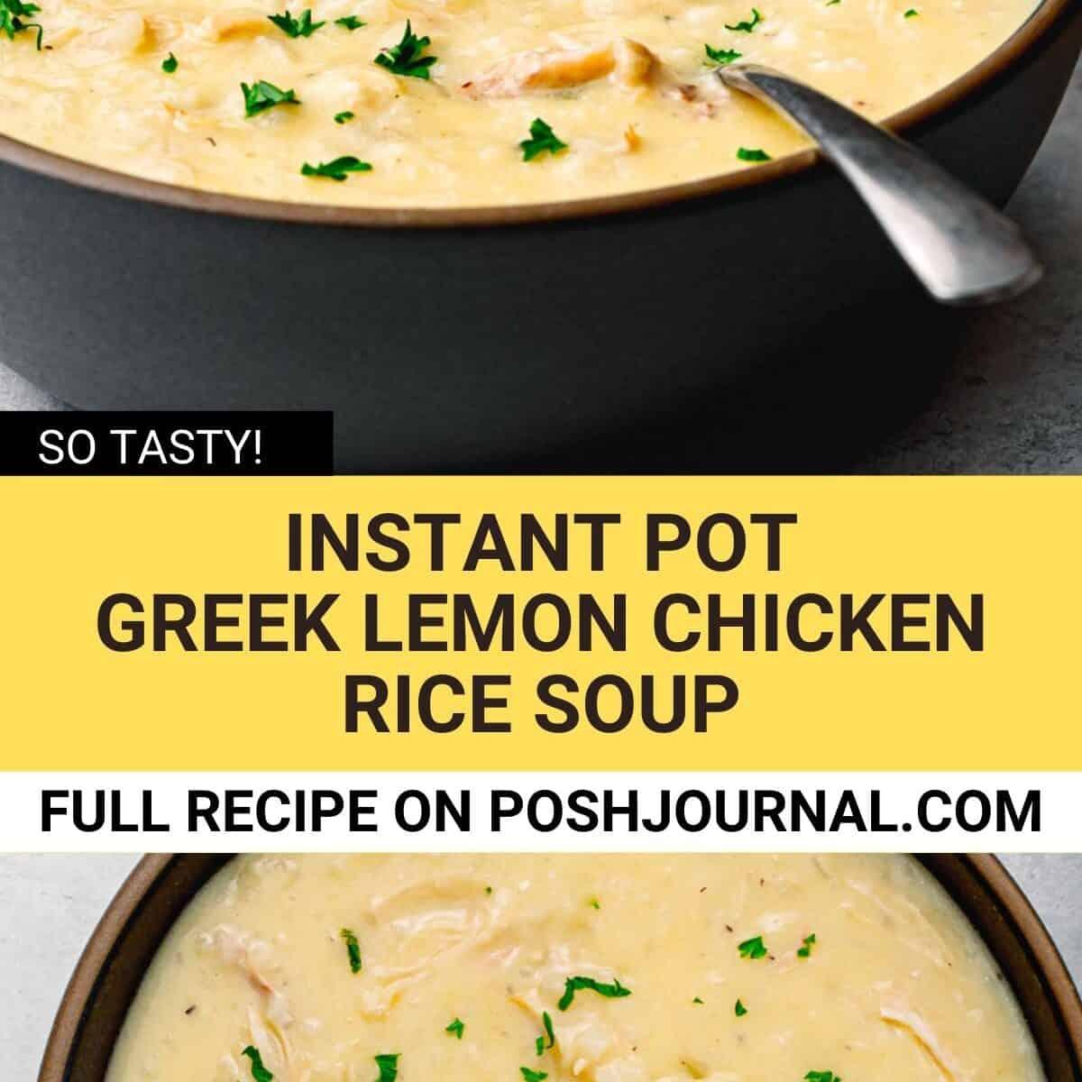 Instant Pot Greek Chicken Lemon Rice Soup, Avgolemono