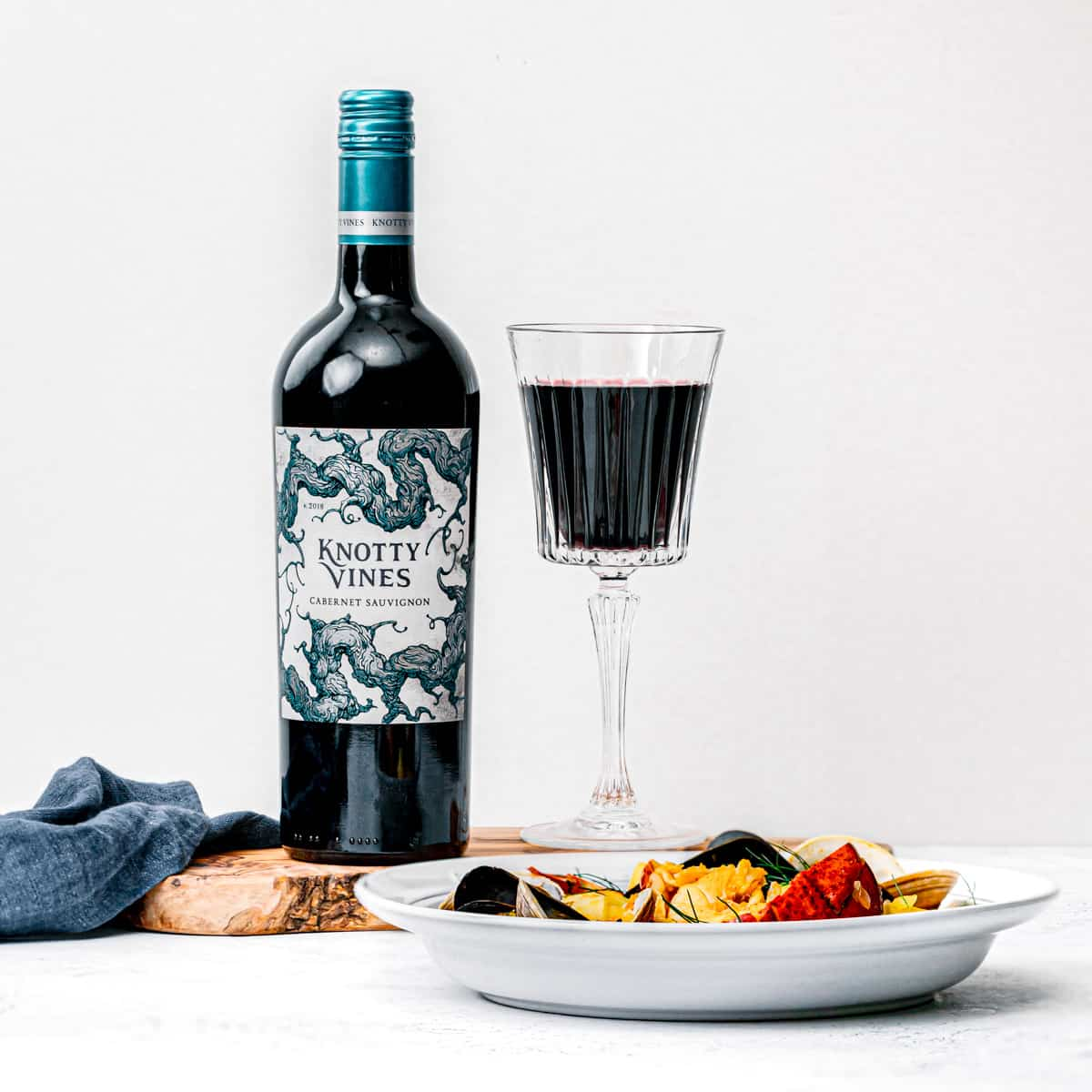 Knotty Vines Cabernet Savignon with Boullabaisse.