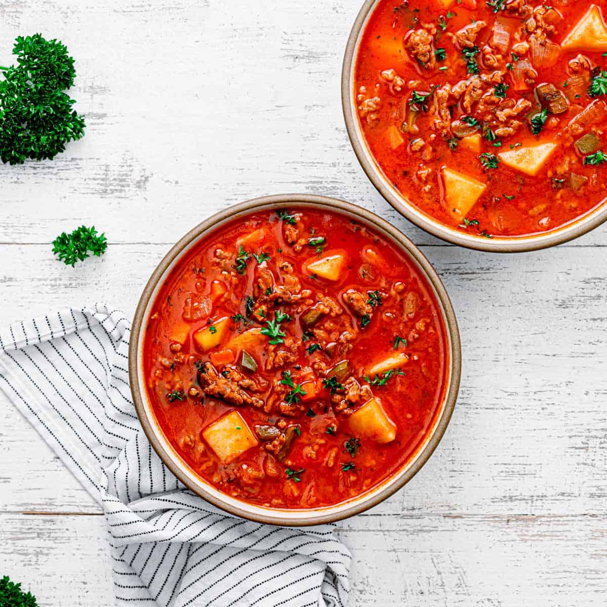 Chunky tomato soup.