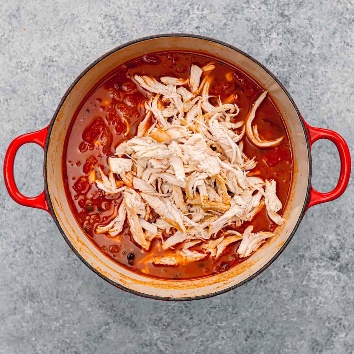 shredded chicken in a soup.