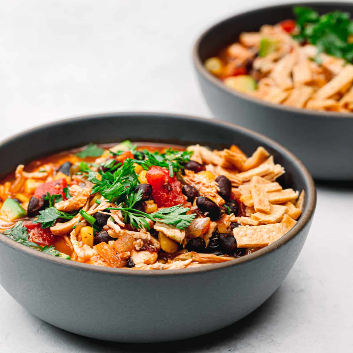 A recipe for tortilla soup with chicken.