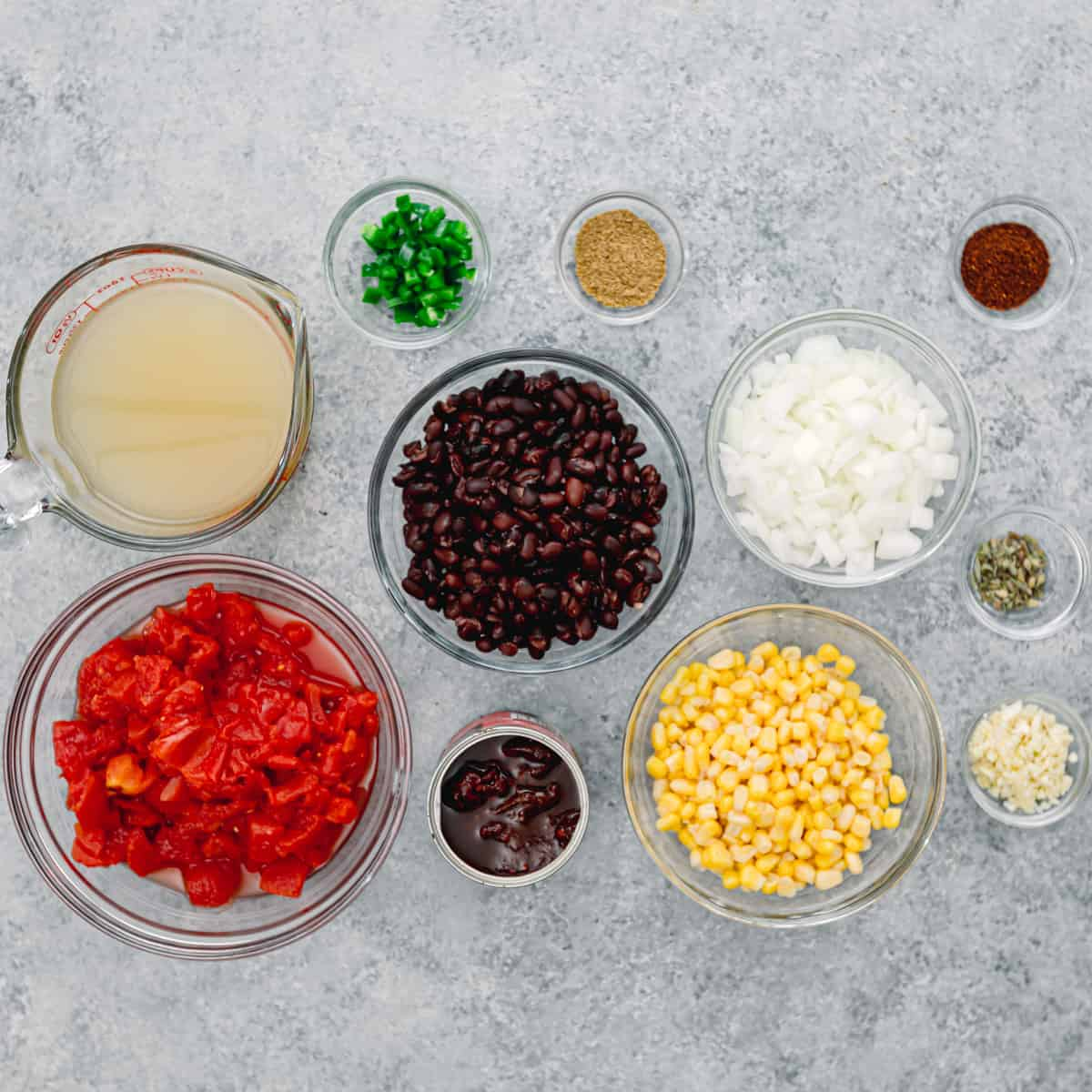 Ingredients for Mexican soup.