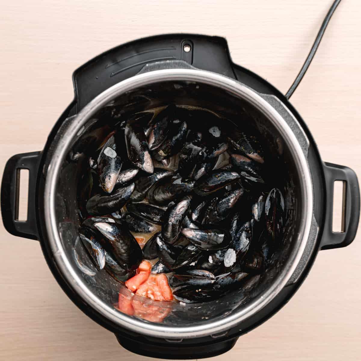 Mussels in a pressure cooker.