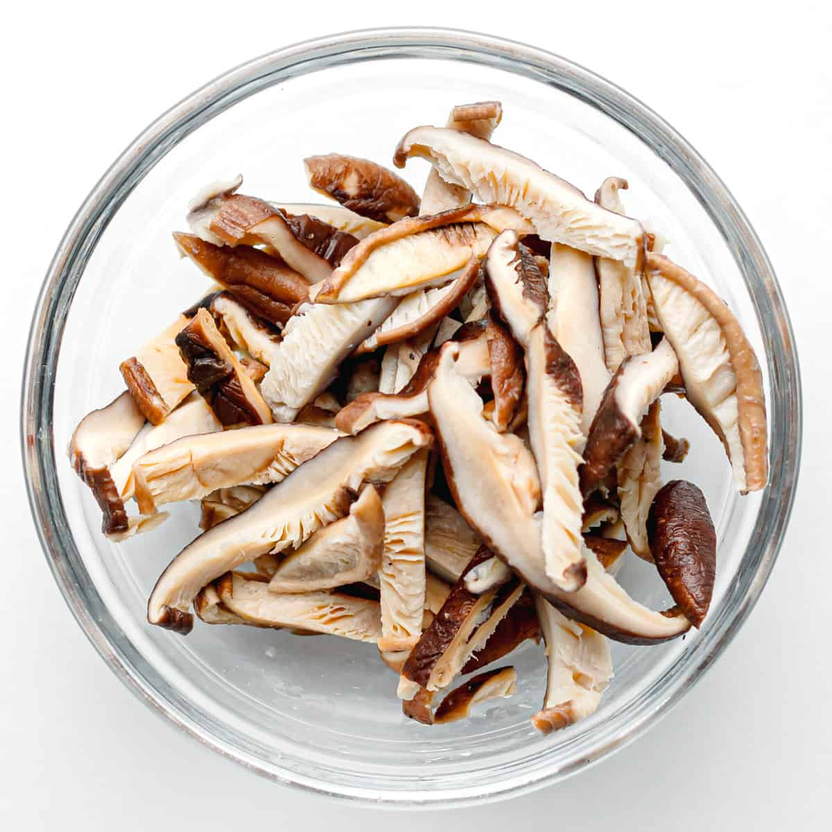 sliced shiitake mushrooms.