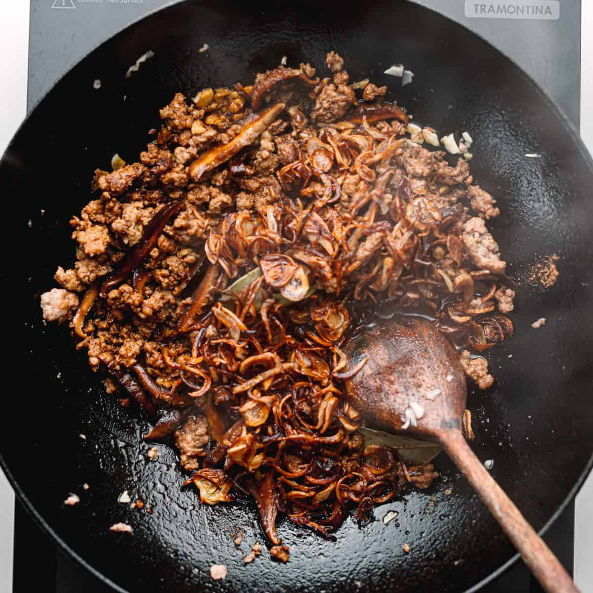 ground pork with soy sauce.