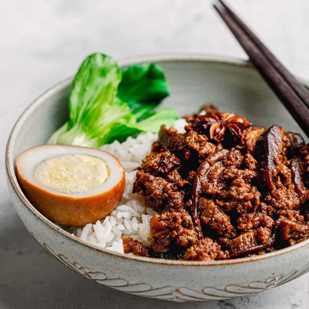 Taiwanese braised pork over rice.