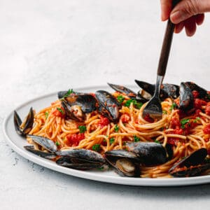Pasta with mussels recipe.