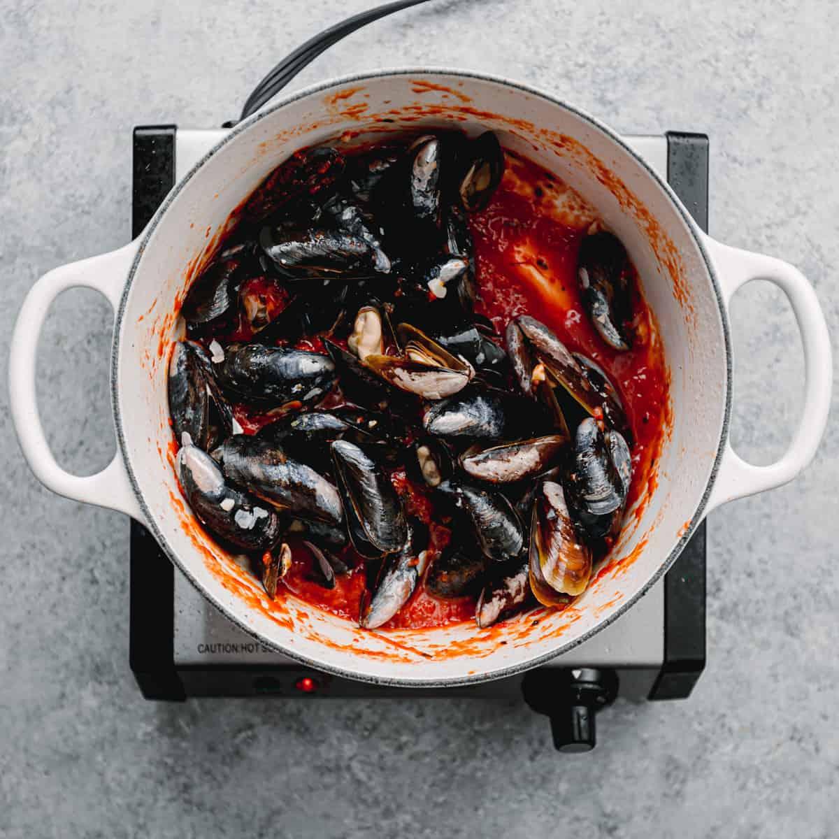 mussels and marinara sauce.