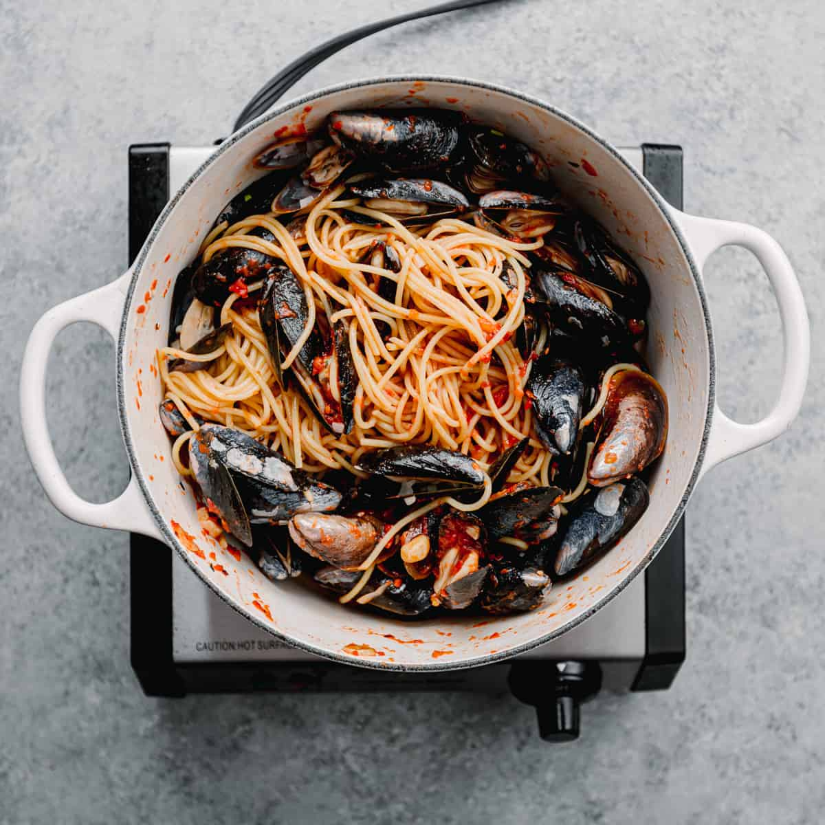 spaghetti and mussels.