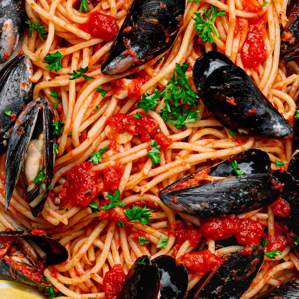 close up mussels with pasta.