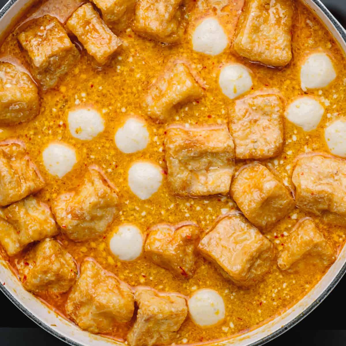 tofu puffs and fish balls