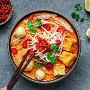 Laksa Soup Malaysian Curry Noodle.