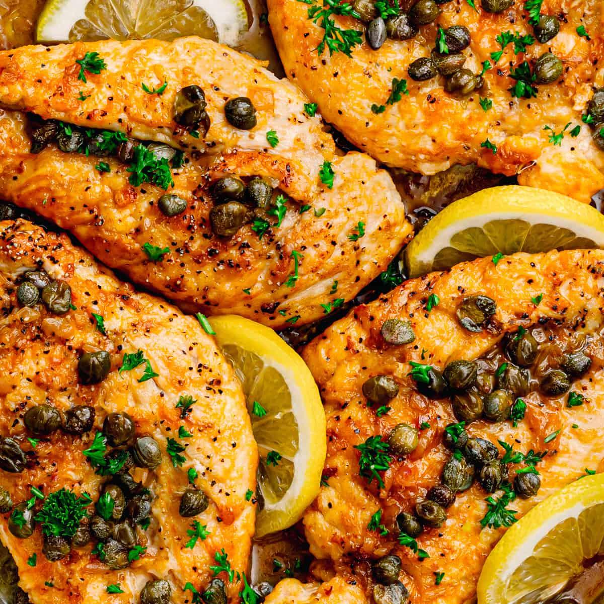 flattened chicken with lemon-caper sauce.