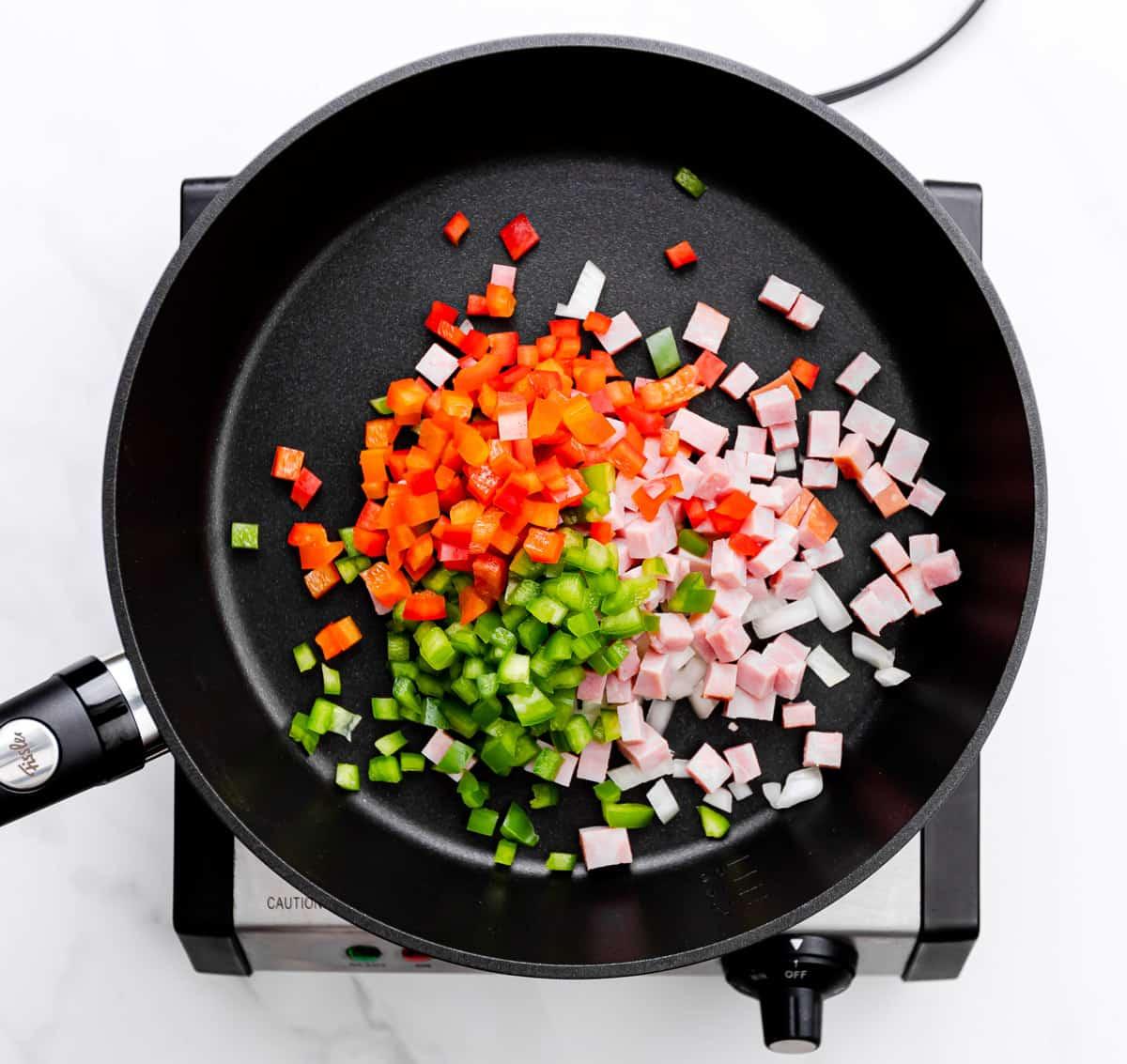 ham, bell pepper, onion
