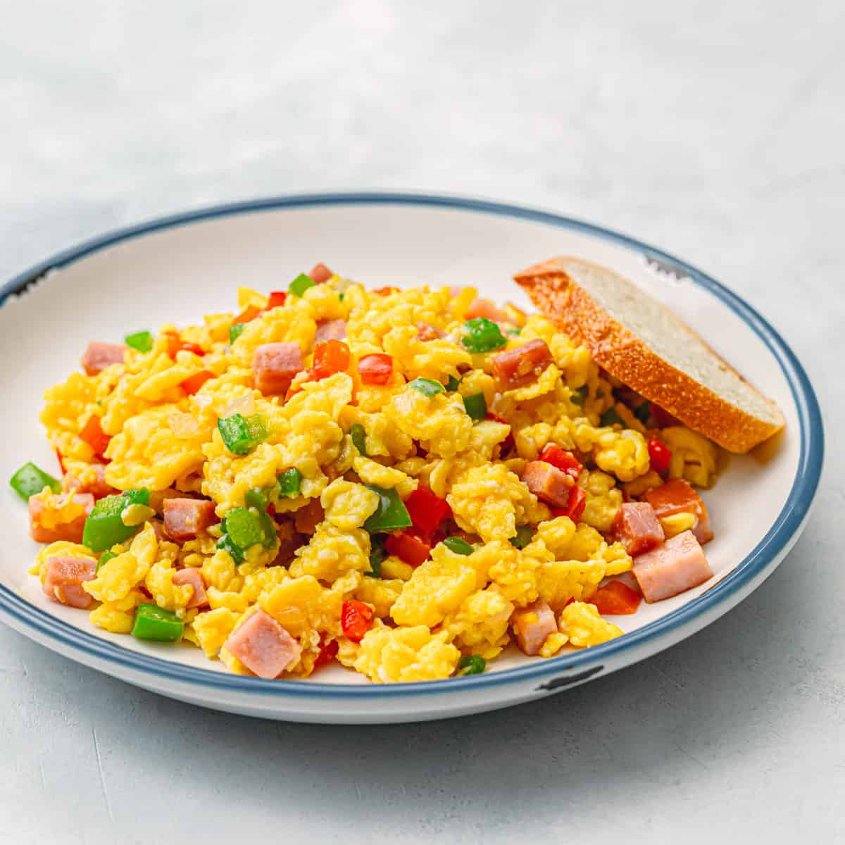 Soft Scrambled Eggs with Ham and Bell Pepper.
