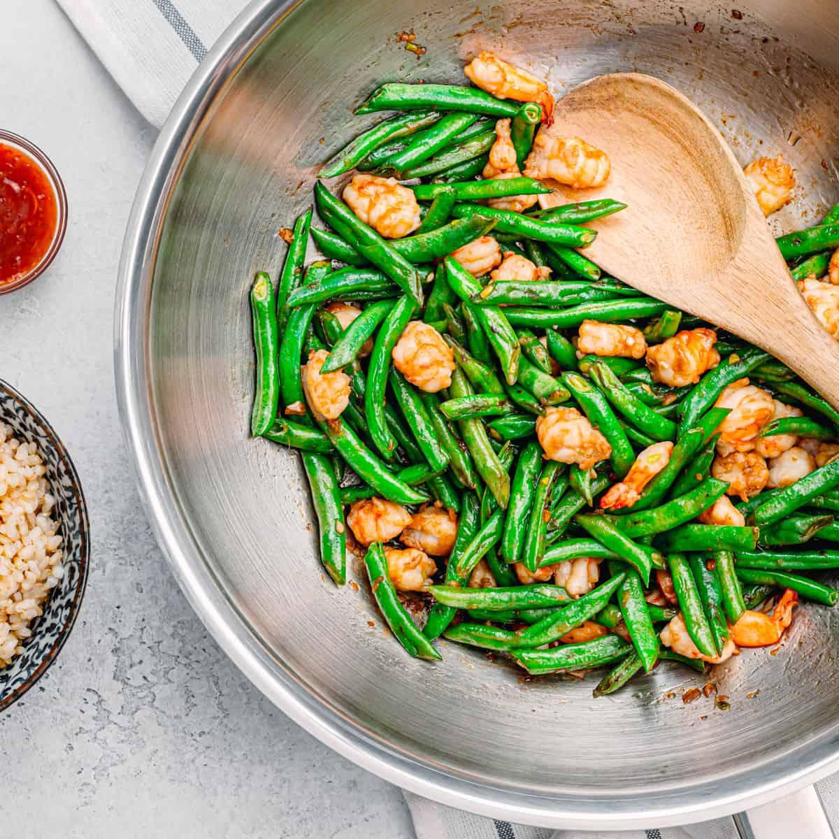 stir-fried green beans with shrimp.
