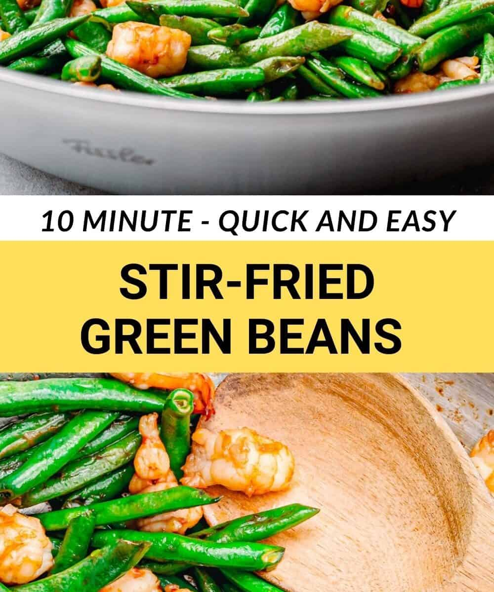 10 minute stir-fried green beans with shrimp.