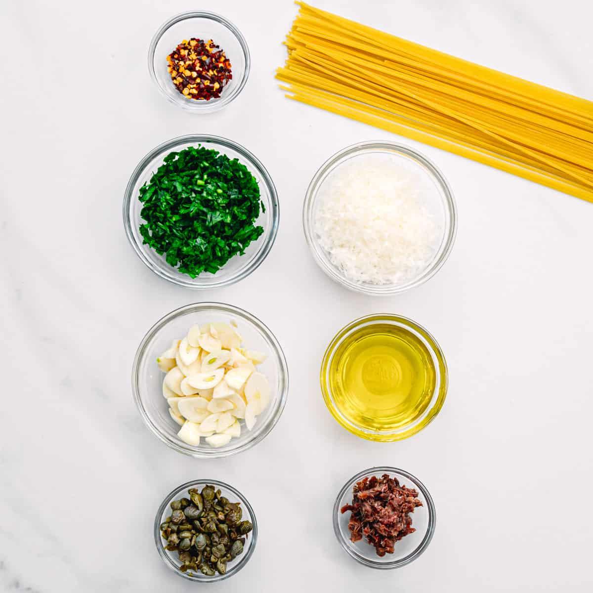 ingredients for midnight pasta.