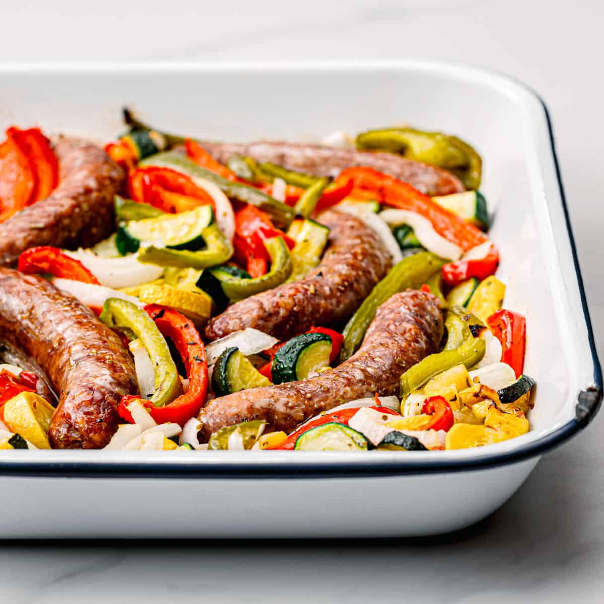 baked sausages.