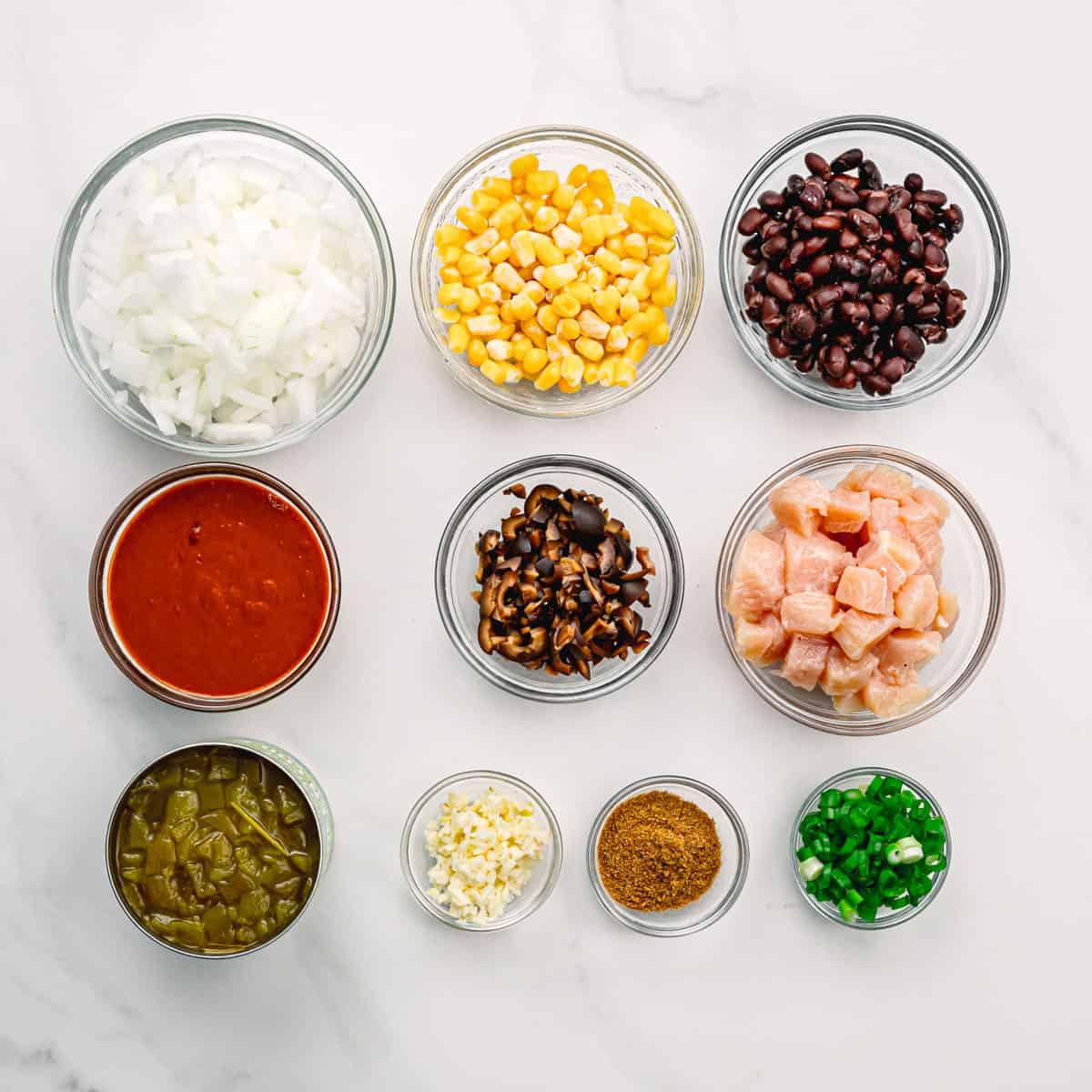 the ingredients to make enchiladas.