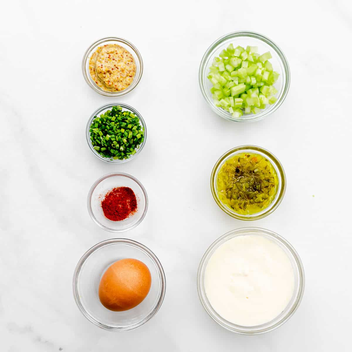 The ingredients for egg salad.