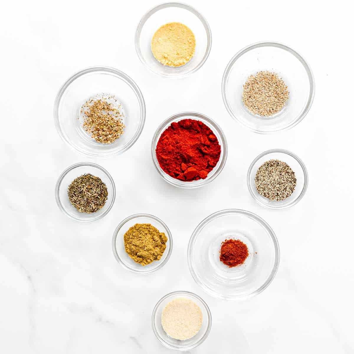 Ingredients for Blackening Seasoning.
