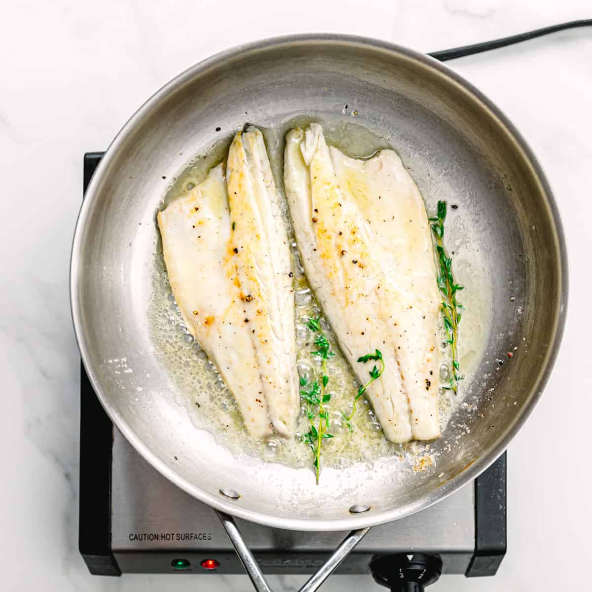 cooking fish fillets.